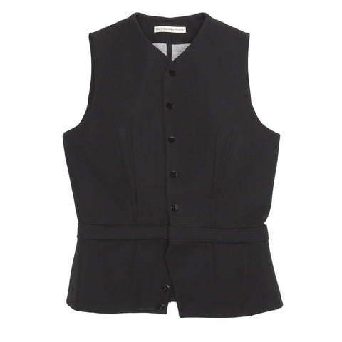 Black Wool Fitted Vest