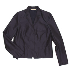 Balenciaga Navy Shiny Silk Short Blazer, Size 44 (French)