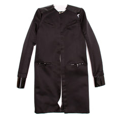 Balenciaga Black Silk & Leather Coat, Size 42 (French)