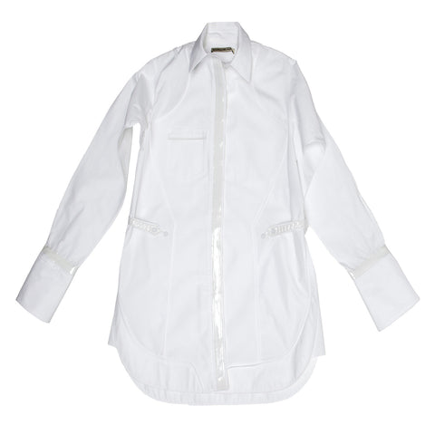 Balenciaga White Cotton & Leather Shirt, Size 38 and 40 (French)