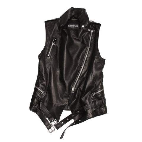 Balmain Black Leather Moto Style Vest, size 42 (French)