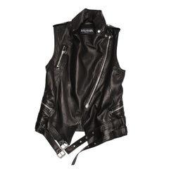 Find an authentic preowned Balmain Black Leather Moto Style Vest size 42 (French) at BunnyJack, where a portion of every sale goes to charity.