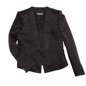 Find an authentic preowned Balmain Black Jaquard Tuxedo Jacket size 46 (French) at BunnyJack, where a portion of every sale goes to charity.