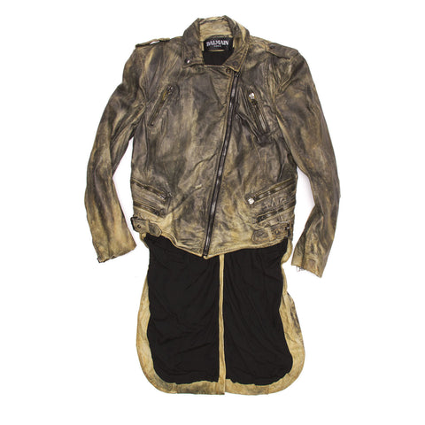 Balmain Brown Distressed Leather Jacket, size 40 (French)
