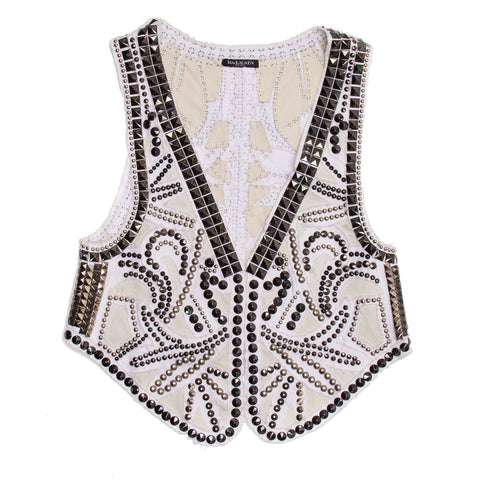 Find an authentic preowned Balmain White Denim Studded Vest size 38 (French) at BunnyJack, where a portion of every sale goes to charity.