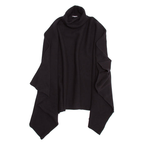 Balmain Black Wool & Cashmere Poncho, size 38 (French)