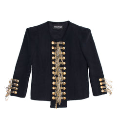 Find an authentic preowned Balmain Navy & Gold Cropped Jacket size 44 (French) at BunnyJack, where a portion of every sale goes to charity.