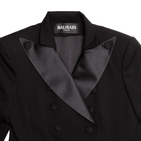 Find an authentic preowned Balmain Black Wool Tuxedo Jacket size 44 (French) at BunnyJack, where a portion of every sale goes to charity.
