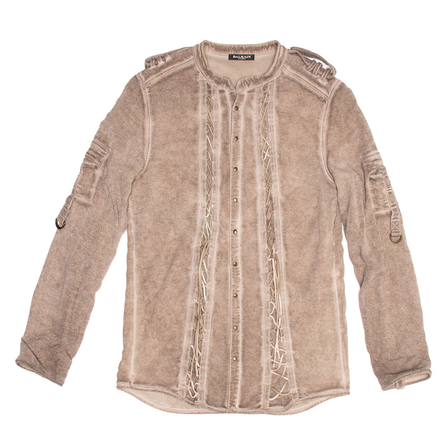 Find an authentic preowned Balmain Taupe Jersey & Chiffon Top size 40 (French) at BunnyJack, where a portion of every sale goes to charity.