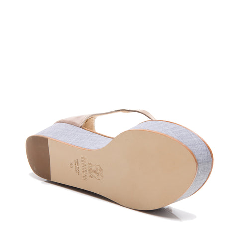 Find an authentic preowned Brunello Cucinelli Tan & Denim Thong Sandals, size 40 (Italian) at BunnyJack.