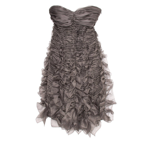 Burberry Grey Silk Strapless Dress