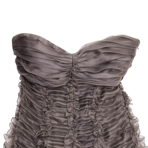 Grey Silk Strapless Dress