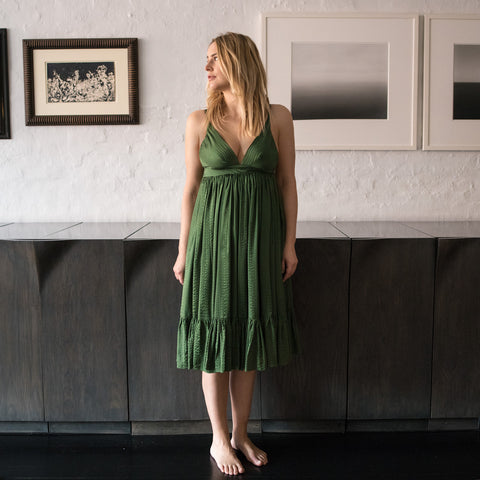 Green Silk Long Dress