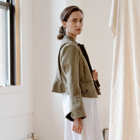Find an authentic preowned Celine Green Brown Canvas Jacket, size 40 (French) at BunnyJack, where a portion of every sale goes to charity.