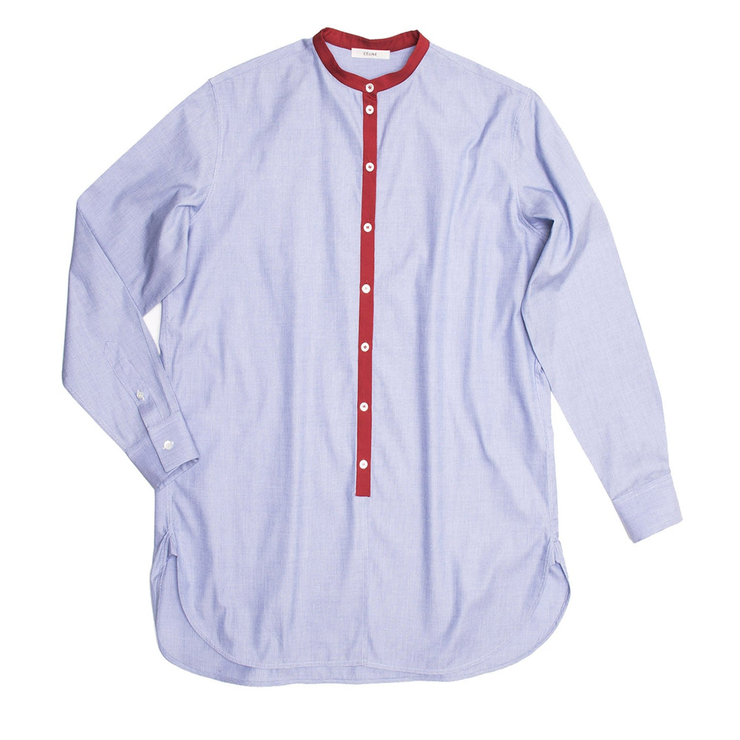 Find an authentic preowned Celine Blue & Red Cotton Shirt, size 38 (French) at BunnyJack, where a portion of every sale goes to charity.