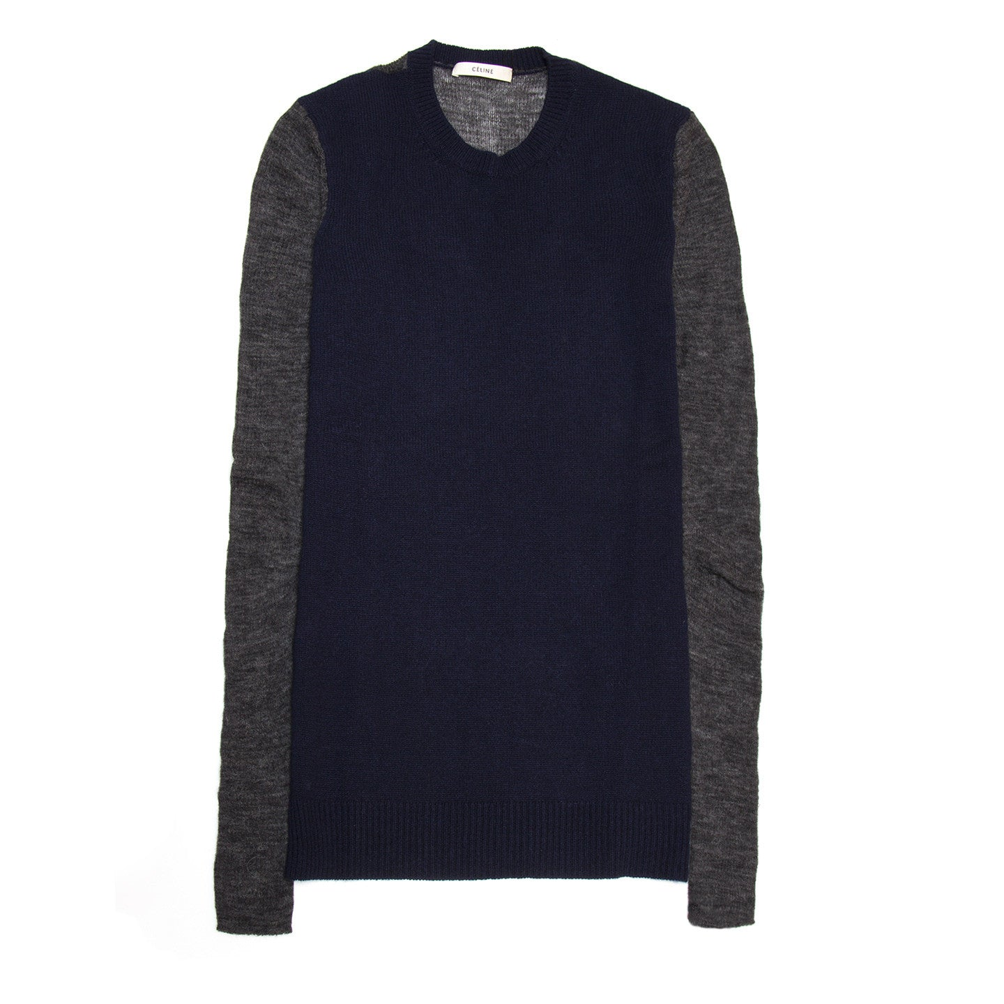 Find an authentic preowned Celine Navy & Grey Cashmere Sweater, size L at BunnyJack, where a portion of every sale goes to charity.