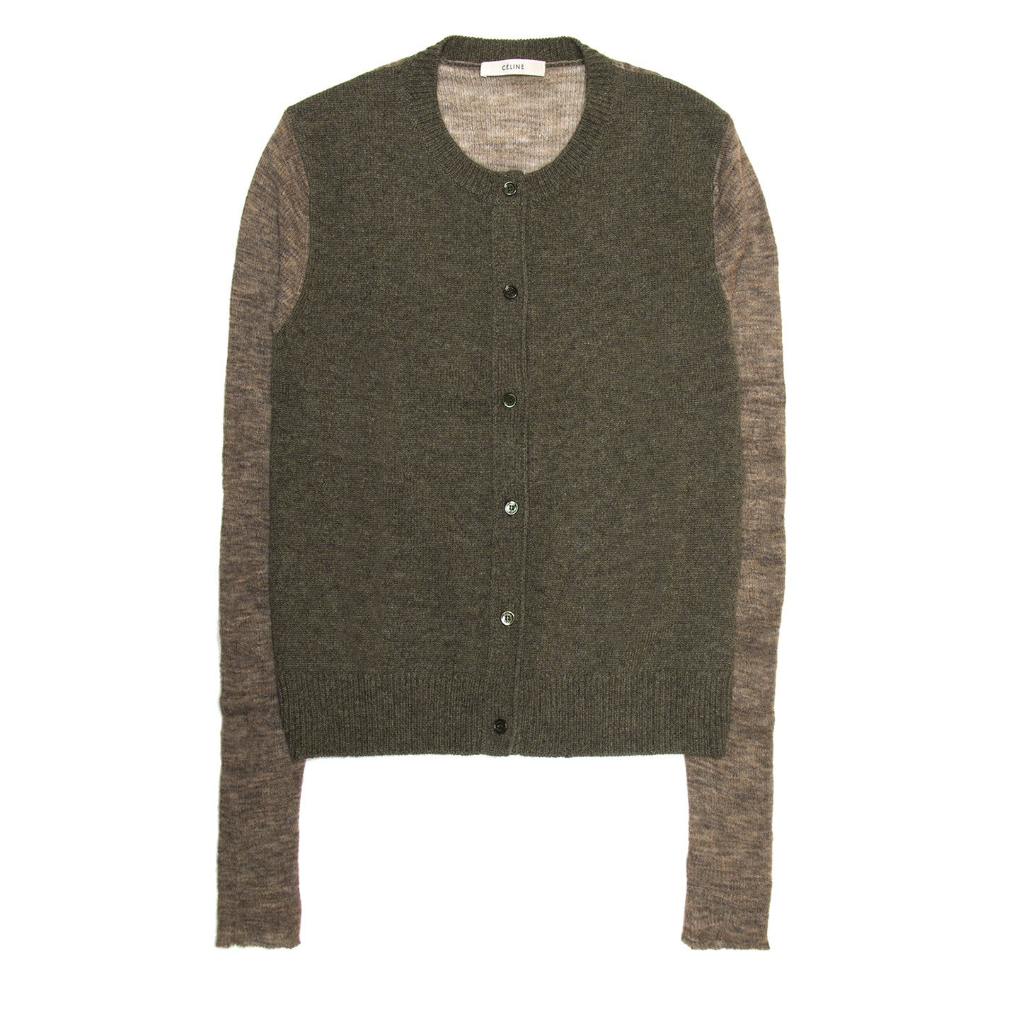 Find an authentic preowned Celine Green & Brown Cashmere Cardigan, size L at BunnyJack, where a portion of every sale goes to charity.