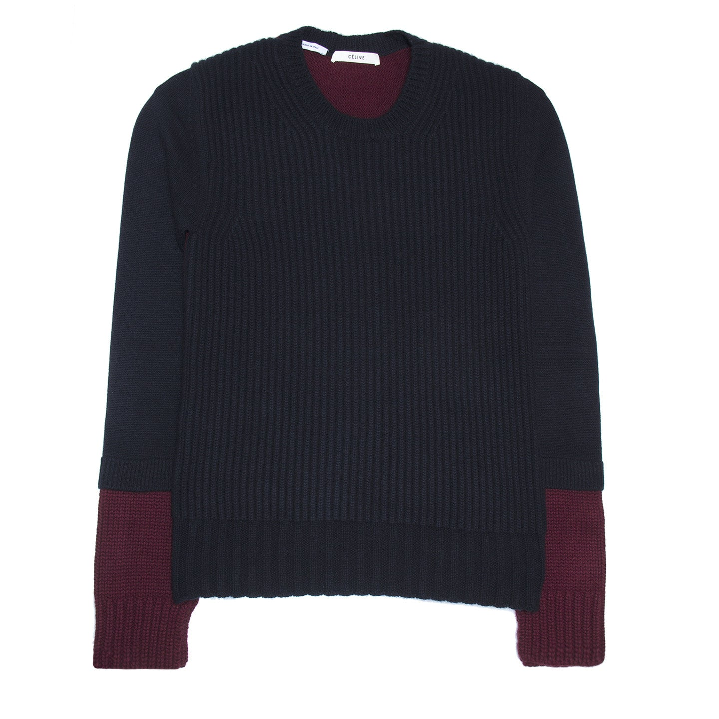 Find an authentic preowned Celine Navy & Burgundy Sweater, size M at BunnyJack, where a portion of every sale goes to charity.