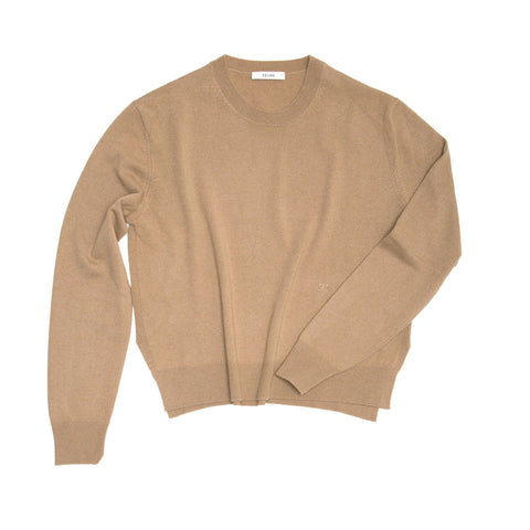 Find an authentic preowned Celine Camel Cashmere Sweater, size M at BunnyJack, where a portion of every sale goes to charity.