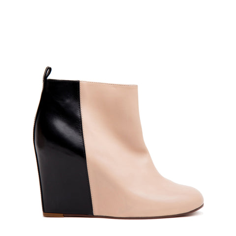 Celine Black & Natural Hidden Wedge Ankle Boots, size 41 (Italian)