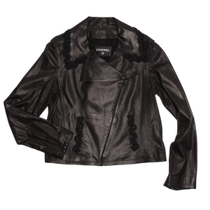Find an authentic preowned Chanel Black Leather & Lace Moto Jacket, size 44 (French) at BunnyJack, where a portion of every sale goes to charity.