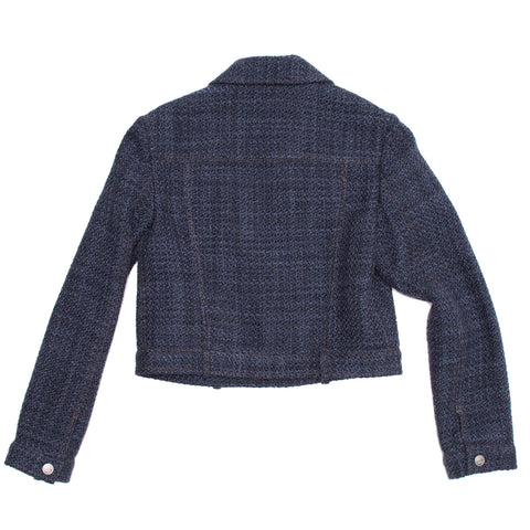 Find an authentic preowned Chanel Navy Wool Short Jacket, size 40 (French) at BunnyJack, where every sale triggers a charity donation.