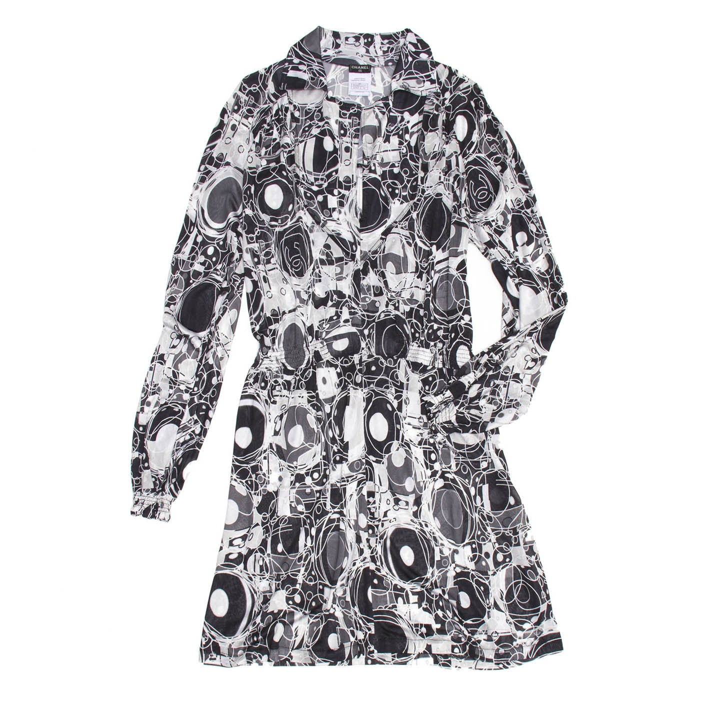 Find an authentic preowned Chanel Black & White Printed Dress, size 42 (French) at BunnyJack, where a portion of every sale goes to charity.