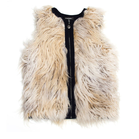 Chanel Cream & Black Wool Fur Vest, size 34 (French)