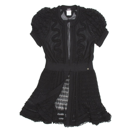 Chanel Black Knit Open Front Dress, size 44 (French)