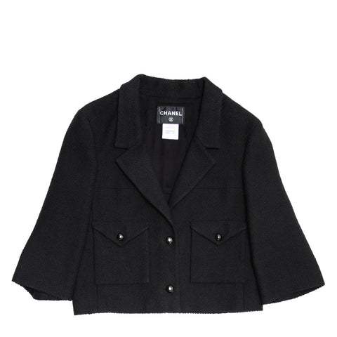 Chanel Black Cotton 3/4 Sleeves Jacket, size 44 (French)