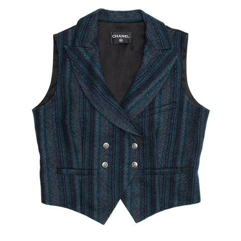 Find an authentic preowned Chanel Navy Shades Striped Vest, size 44 (French) at BunnyJack, where every sale triggers a charity donation.