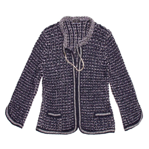 Chanel Navy & Silver Knit Jacket, size 42 (French)
