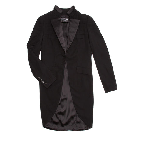 Find an authentic preowned Chanel tuxedo jacket with tails size 42 (French) at BunnyJack, where a portion of each sale goes to a deserving charity.