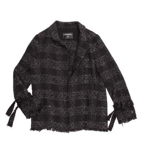 Chanel Black & Grey Cotton Tartan Jacket, size 40 (French)