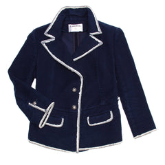 Find an authentic preowned Chanel Navy Moleskin & Denim Blazer, size 44 (French) at BunnyJack, where every sale triggers a charity donation.