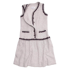 Chanel Silver & Burgundy Drop Waisted Dress, size 46 (French)