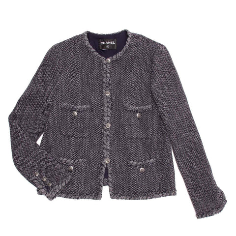Chanel Navy & Grey Herringbone Jacket, size 46 (French)