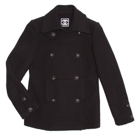 Chanel Black Wool Peacoat Jacket, size 36 (French)