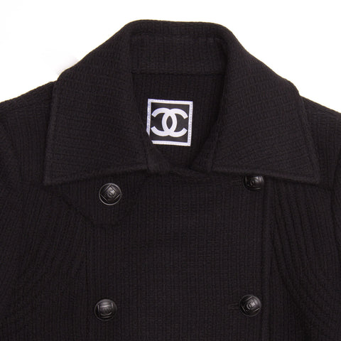 Find an authentic preowned Chanel Black Wool Peacoat Jacket, size 36 (French) at BunnyJack, where every sale triggers a charity donation.
