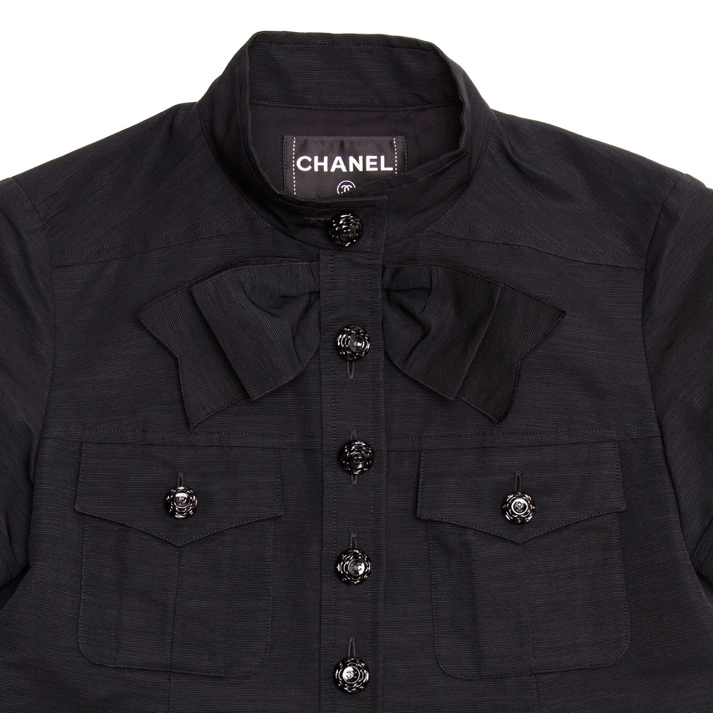 Chanel Black Cotton Top With Bow, size 38 (French)