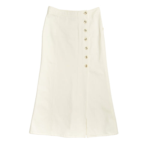 Find an authentic preowned Chanel White Denim Long Skirt, size 44 (French) at BunnyJack, where every sale triggers a charity donation.