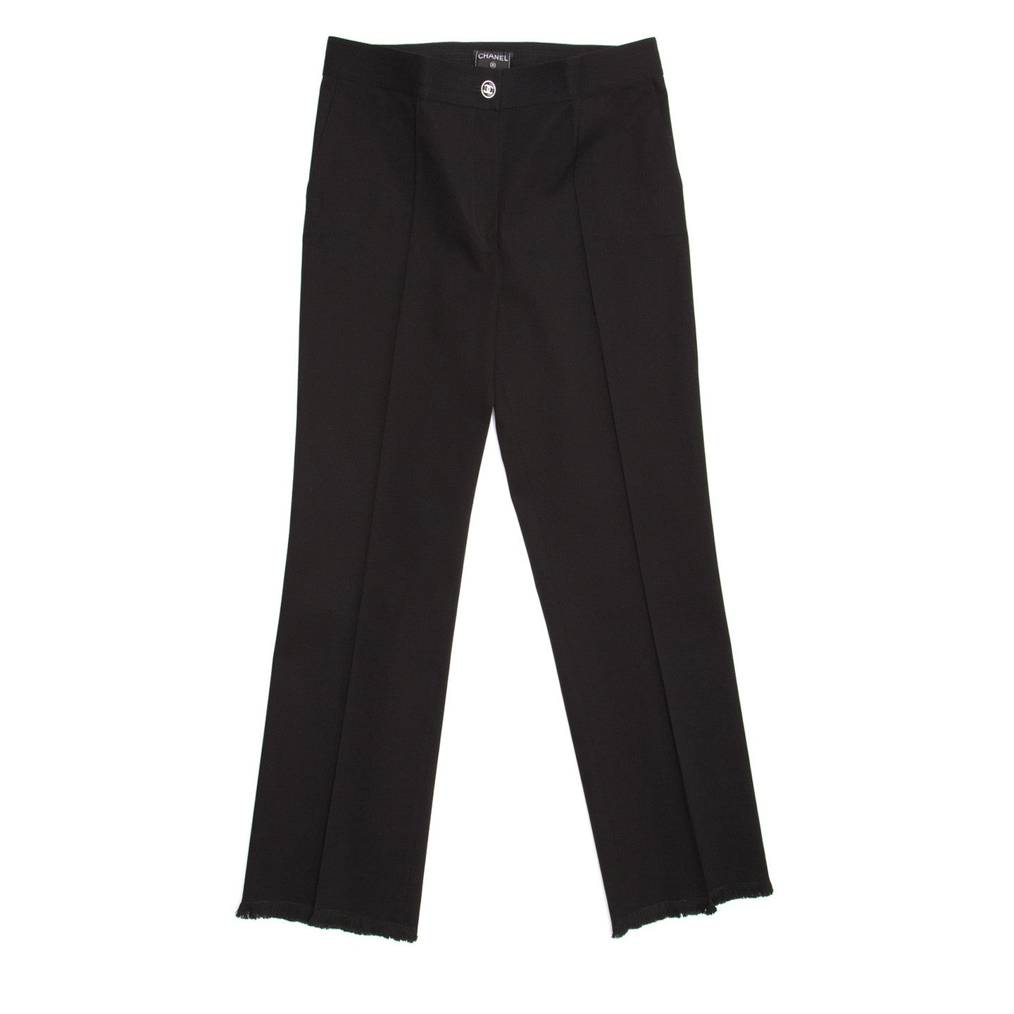 Find an authentic preowned Chanel Black Cotton Cropped Pants, size 44 (French) at BunnyJack, where a portion of every sale goes to charity.