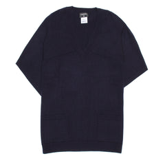 Find an authentic preowned Chanel Navy Cashmere Short Sleeved Sweater, size 44 (French) at BunnyJack, where every sale triggers a charity donation.