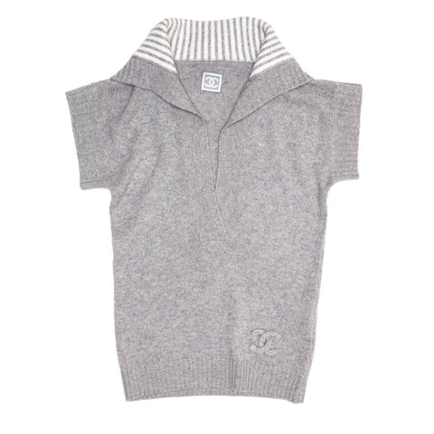 Find an authentic preowned Chanel Grey Cashmere Short Sleeved Knit, size 38 (French) at BunnyJack, where every sale triggers a charity donation.