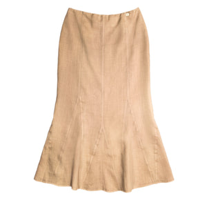 Find an authentic preowned Chanel Tan Ramie Skirt, size 46 (French) at BunnyJack, where every sale triggers a charity donation.