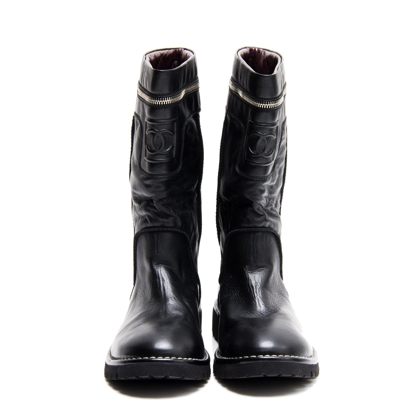 Find an authentic preowned Chanel Moto Boots With Silver Zipper, size 40 (Italian) at BunnyJack, where every sale triggers a charity donation.
