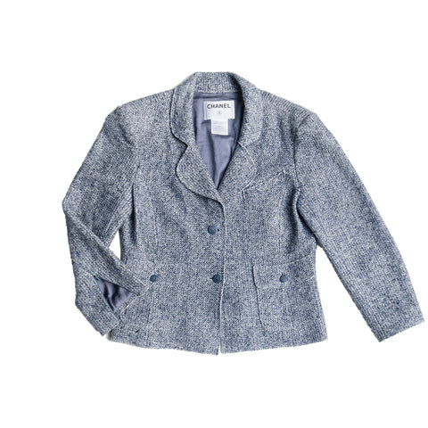 Chanel Blue Linen & Cotton Blazer, size 42 (French)