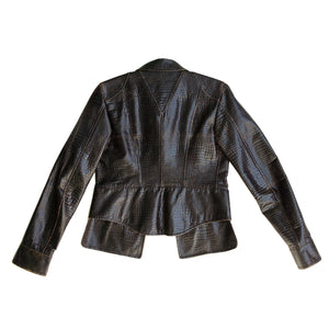 Chanel Brown Embossed and Distressed Leather Jacket, size 40 (French)
