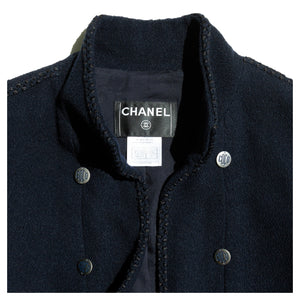 Chanel Short Navy Jacket With Ties, size 42 (French)