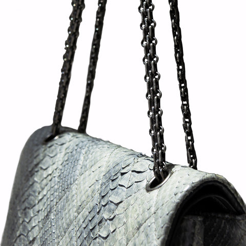 Chanel Jumbo Python Double Flap Bag with Chain Strap